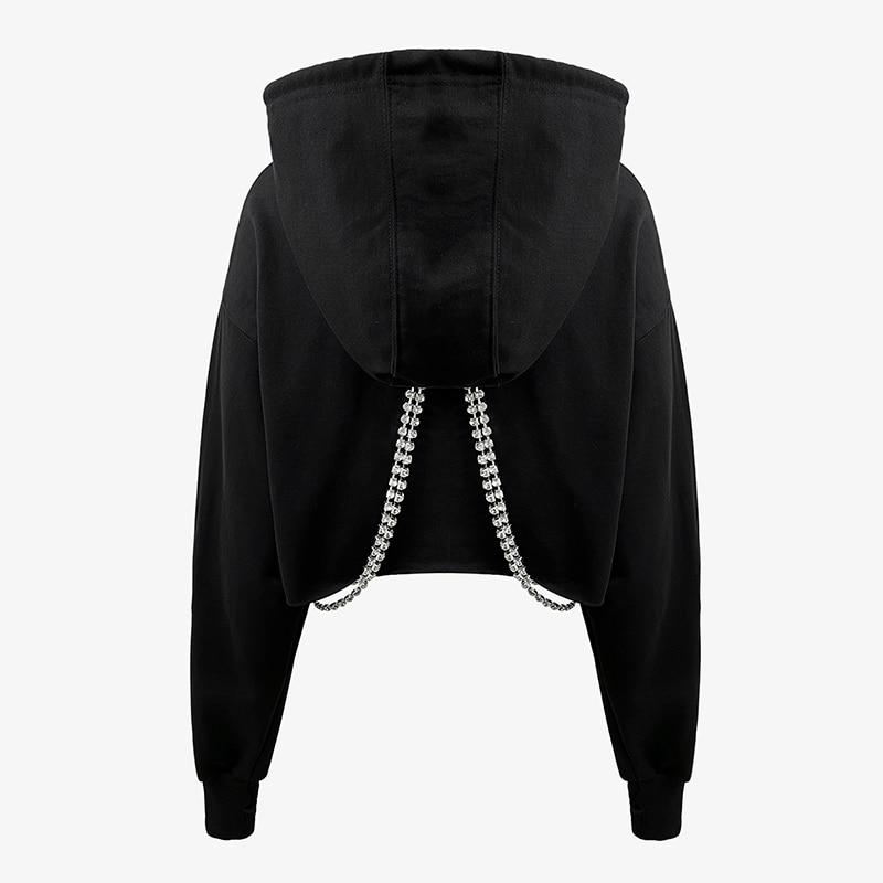 [EAM] Loose Fit  Black Metal Chain Short Sweatshirt New Hooded Long Sleeve Women Big Size Fashion Tide Spring Autumn 2020 1DB716 2