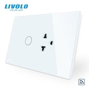 Image 2 - Livolo US AUมาตรฐานสวิทช์สัมผัส + US Socket,แผงคริสตัลแก้วสีขาว,US Touchซ็อกเก็ตพร้อมไฟLed