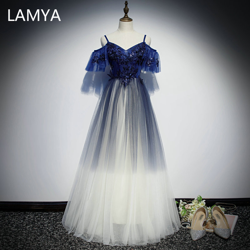 LAMYA Sweetheart Sequined A Line Evening Dresses Lace Appliques Formal Party Dress Spaghetti Strap Evening Gowns Robe De Soiree