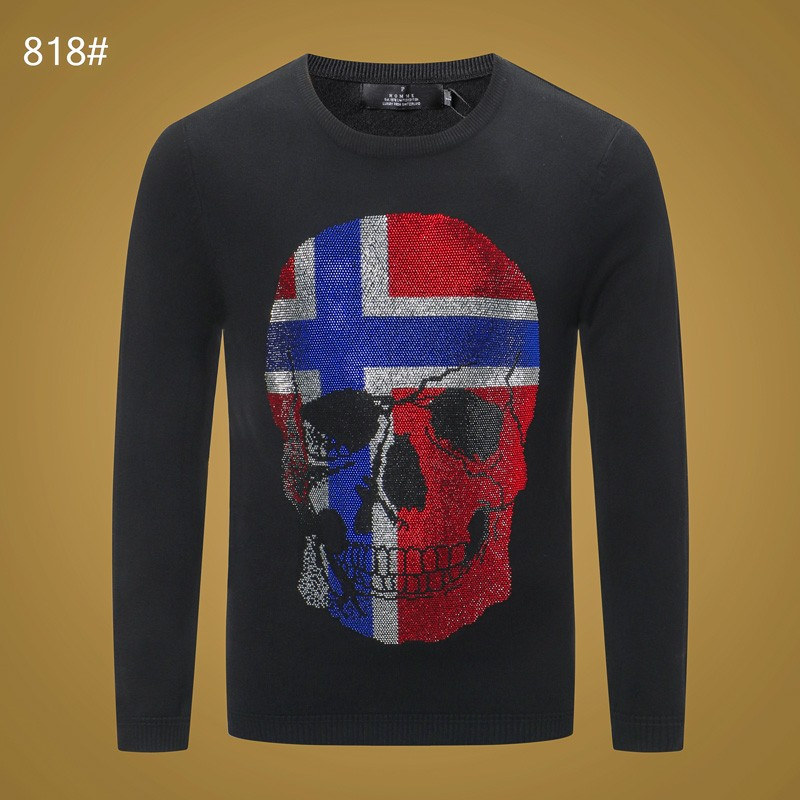 Casual Men Sweater O-neck Striped Slim-fit Sweater Long sleeve 2020 Fall Men Sweater Pullover Plein Skull pull homme M-3XL