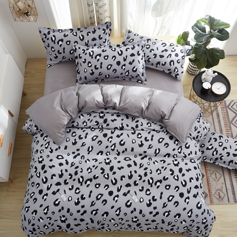 Home Textile Bedding Set Cover Set Gray Leopard King Queen Full Twin Single,Duvet Cover, Flat Bed Sheet,Pillowcase 3/4Pcs