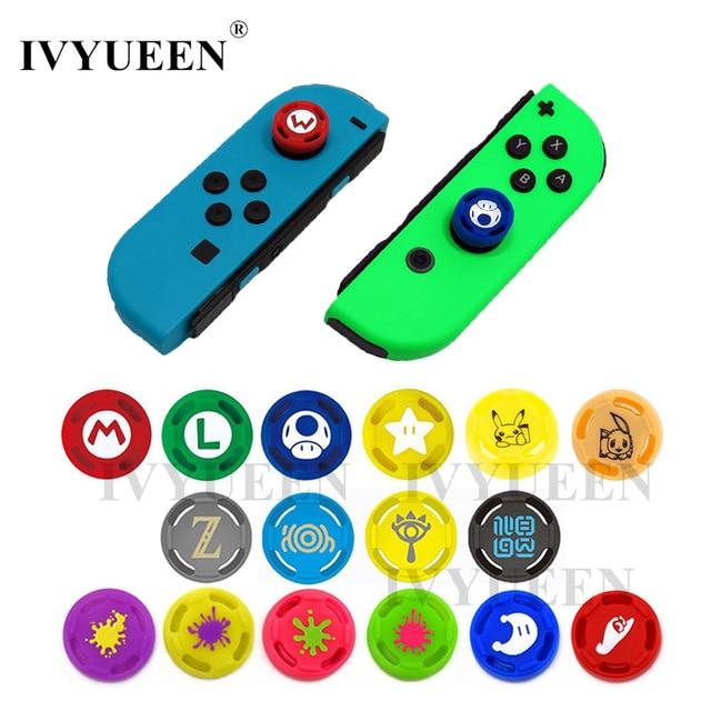 IVYUEEN 2 adet Analog Thumb sapları kapaklar nintendo anahtarı Lite NS JoyCon denetleyici sopa cilt için Joy Con Joycons joystick kapak