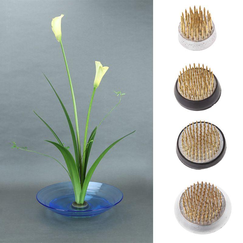 Round Ikebana Kenzan Flower Frog With Rubber Gasket Art Fixed Arranging Tools K1MF