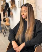 Realce a cor em linha reta 13*6 peruca dianteira do cabelo humano do laço ombre cor 180% densidade perucas do laço do cabelo humano preplucked para a mulher preta