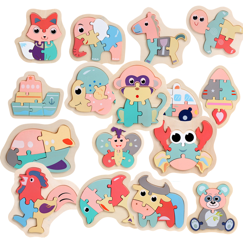 Children Puzzles Wooden Macaron Colorful Animal Jigsaw Puzzle Toys For Toddler Creative Puzzle Early Educational Boys Girls 2-4