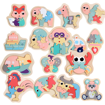 Children Puzzles Wooden Macaron Colorful Animal Jigsaw Puzzle Toys for Toddler Creative Puzzle Early Educational Boys Girls 2-4 Puzzles