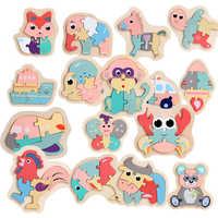 Crianças Puzzles Macaron Colorido Animais Jigsaw Puzzle Brinquedos De Madeira para Criança Criativo Puzzle Educacional Precoce Das Meninas Dos Meninos 2-4