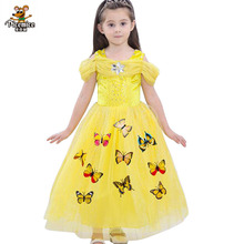 2020 Summer Dresses Kids Frock New Butterfly Dress For Girls Birthday And Wedding Kids Party Prom Gown Girl Children Clothing 2018 new korean sweet autumn summer children baby birthday wedding party prom dress kids girls pink color flowers pageant dress