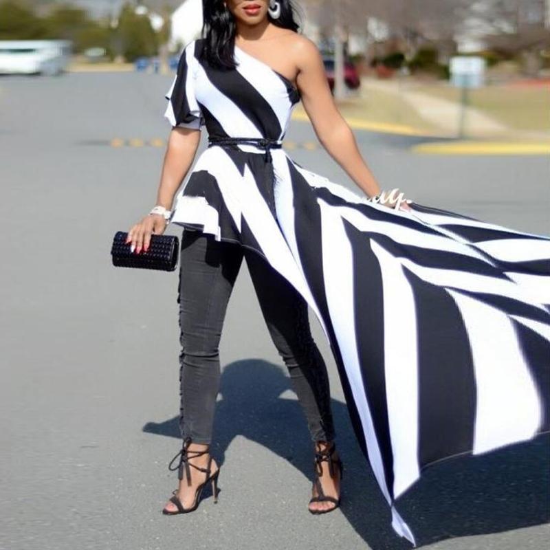 Femmes d'été mode vêtements élégants décontracté élégant fête chemise femme une épaule contraste rayé Long Top asymétrique Blouse