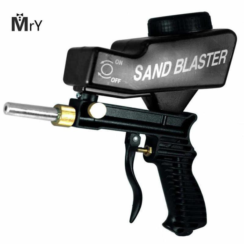 MAHAQI الجاذبية تغذية المحمولة هوائي جلخ الرمال الناسف بندقية مع الغيار مكبر تلميح باليد الرملي بندقية الأسود اللون H