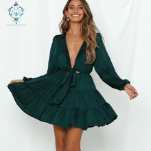 CUERLY 2019 Deep V neck Fold edge Bow sexy dress women lace up waist slim sweet lantern-sleeve mini dresses party summer vestido