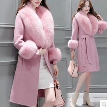 Woolen Coat Women's Middle Long Korean Version 2021 Winter Clothes Thin Waist and Fashionable Large Wool Fur Belt Luxury Sexy
