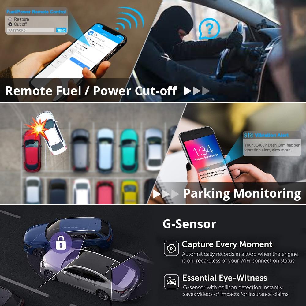 JIMI – caméra de tableau de bord de voiture JC400 4G, WIFI, streaming en direct, suivi GPS avec coupure de carte SIM, double objectif de carburant, DVR 1080P, Bluetooth   AliExpress