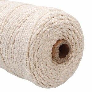 Image 5 - Cable de algodón blanco duradero de 200m, artesanía de cuerda trenzada Beige Natural, cordón de macramé, bricolaje, suministro decorativo para el hogar hecho a mano de 3mm