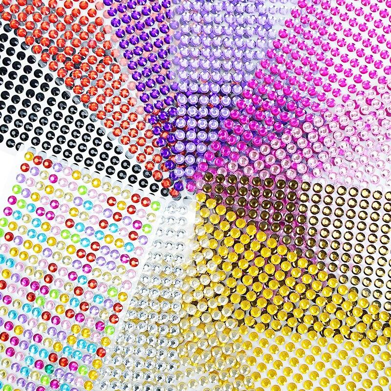 1040pcs/Sheet Mobile PC Diy Acrylic Decals Glitter Bling Rhinestone Self Adhesive Scrapbooking Car Art Sticker Bags Shoes Decor