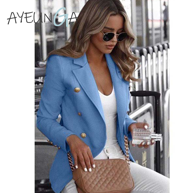 Turn-down Collar Blazer Autumn Winter Pockets Vintage Open Front Ladies Blazer Office Formal Business Fashion Jacket Outerwear