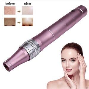 Image 1 - Elektrische Derma Stift Wireless Maschine Gerät Tattoo Microblading Tattoo Gun mesotherapie Gesicht Stimulieren Haut Pflege