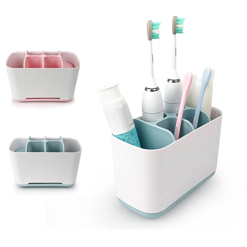 Bathroom Toothbrush Holder Box Plastic Tooth Brush Wall Stand Boxes Toiletries Toothpaste Storage Organizer Bathroom Accessories