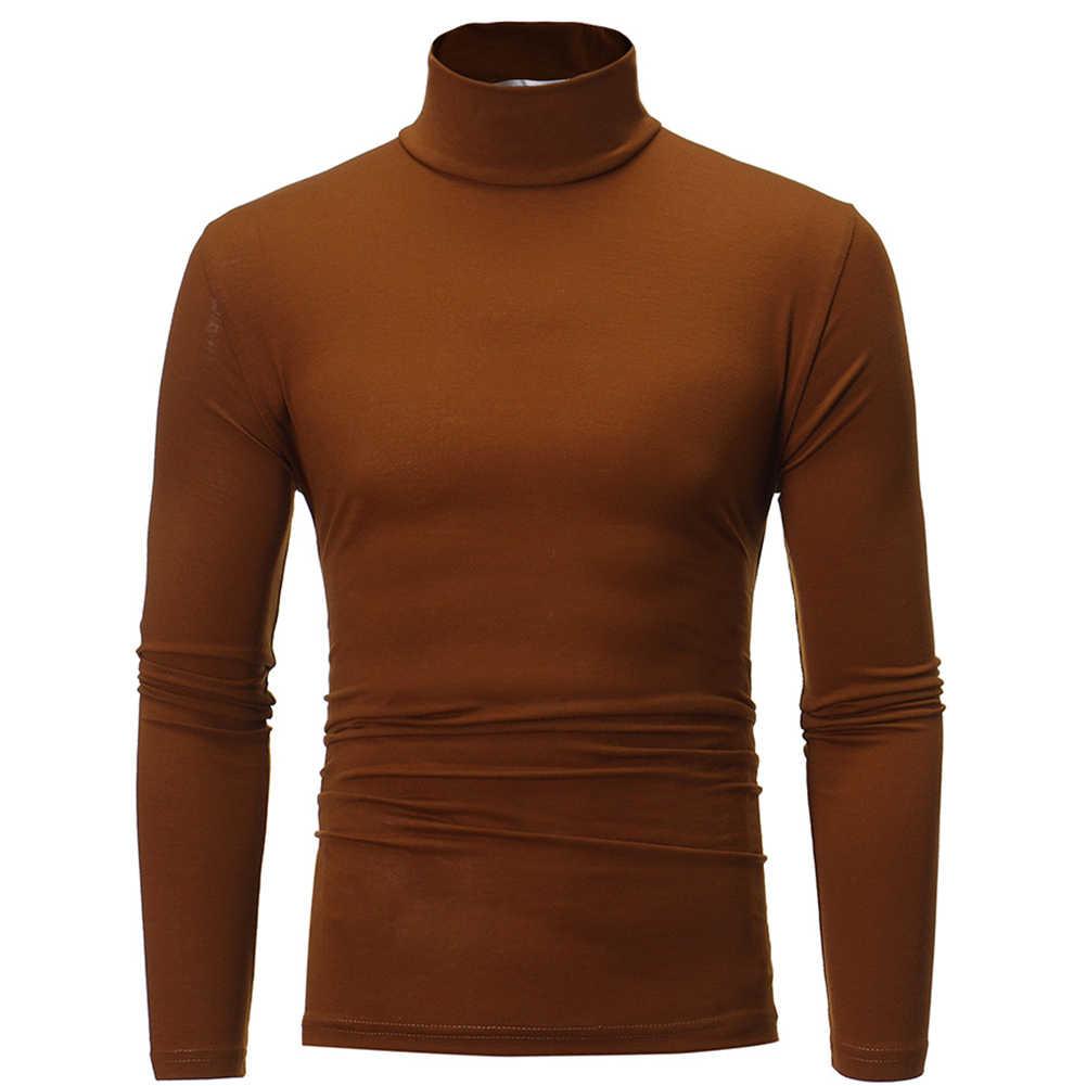 男性ファッション無地長袖タートルネックセーター底入れトップ