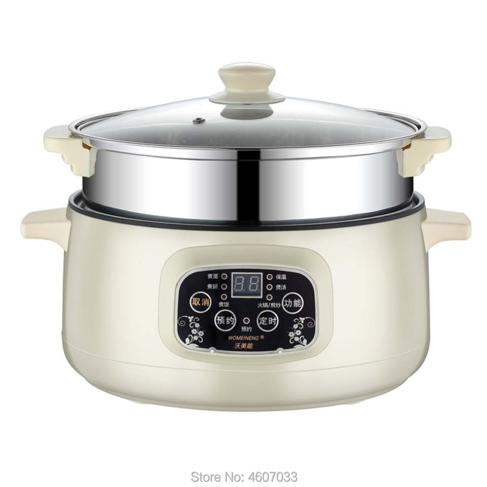 220V Multifunctional Electric Cooker Heating Pan Electric Cooking Pot Machine Hotpot Noodles Eggs Soup Steamer Mini Rice Cooker
