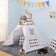 Childrens Tent Portable Cotton Canvas Tipi House Kids Girls Play Wigwam Game Indian Triangle Room Decor