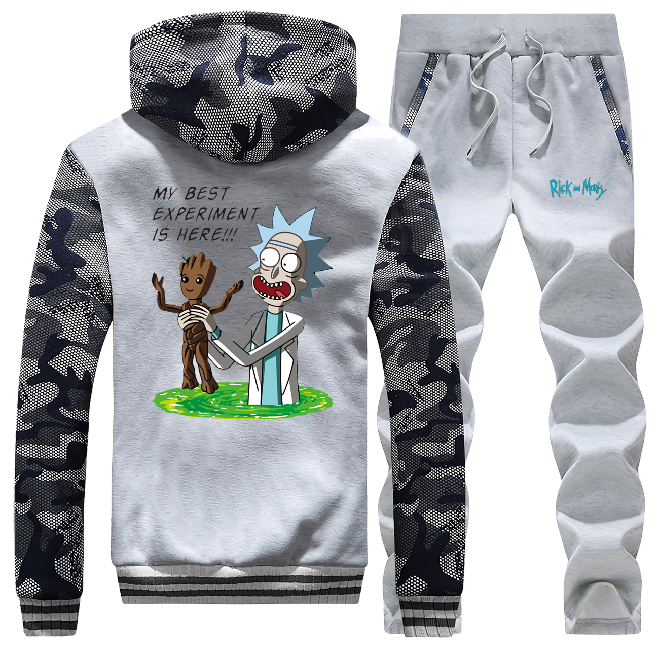 Rick And Morty Groot Pattern Male Track Suits Winter Thick Mens Sports Pants Clothes Sets Camouflage Warm Hoodie Trousers Street