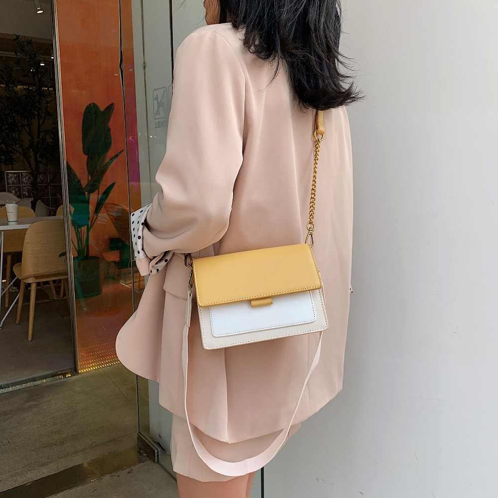 2019 Baru Fashion Crossbody Tas untuk Wanita dengan Tali Bahu Lebar Kulit Patchwork Tas Bahu Wanita Mini Rantai Tas Bolsa