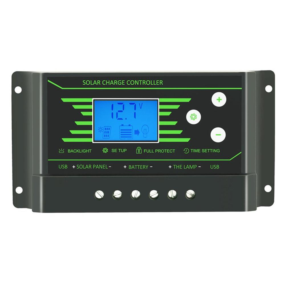 <font><b>30A</b></font> <font><b>Solar</b></font> <font><b>Charge</b></font> <font><b>Controller</b></font> <font><b>PWM</b></font> 12V 24V Backlit LCD 30 amp <font><b>Solar</b></font> Regulator <font><b>Controller</b></font> with Dual USB 5V Charger image