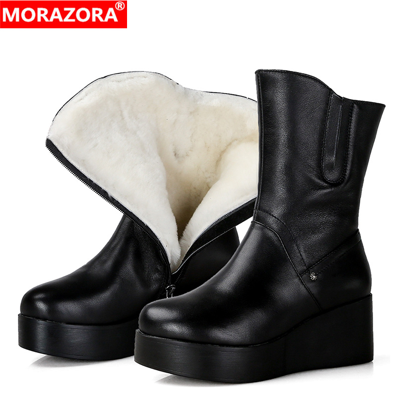 MORAZORA Full genuine leather winter boots nature sheep wool warm snow boots women shoes platform shoes wedges ankle boots
