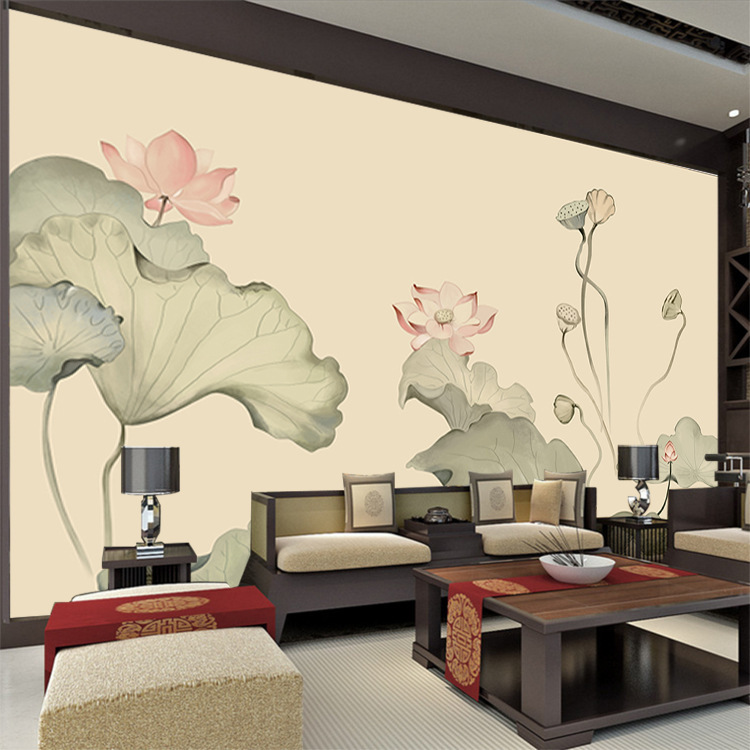 New Chinese Style High-definition Hand-Painted Fine Brushwork Lotus Living Room Television Background Wall Customize The Murals