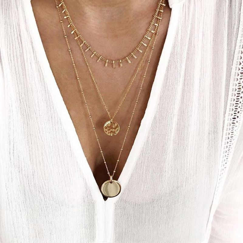 Bijoux Femme Collier Gold Color Multilayer Sequins Statement Bib Chokers Necklaces Women Choker Boho Jewelry Kolye 2019 New