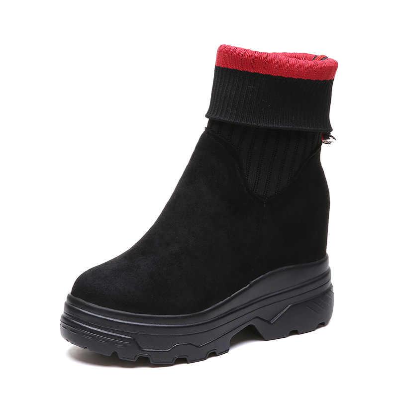 Çorap çizmeler streç ayakkabı kadınlar Flats platformu nefes yürüyüş ayakkabıları örgü hafif eğlence kadın botları
