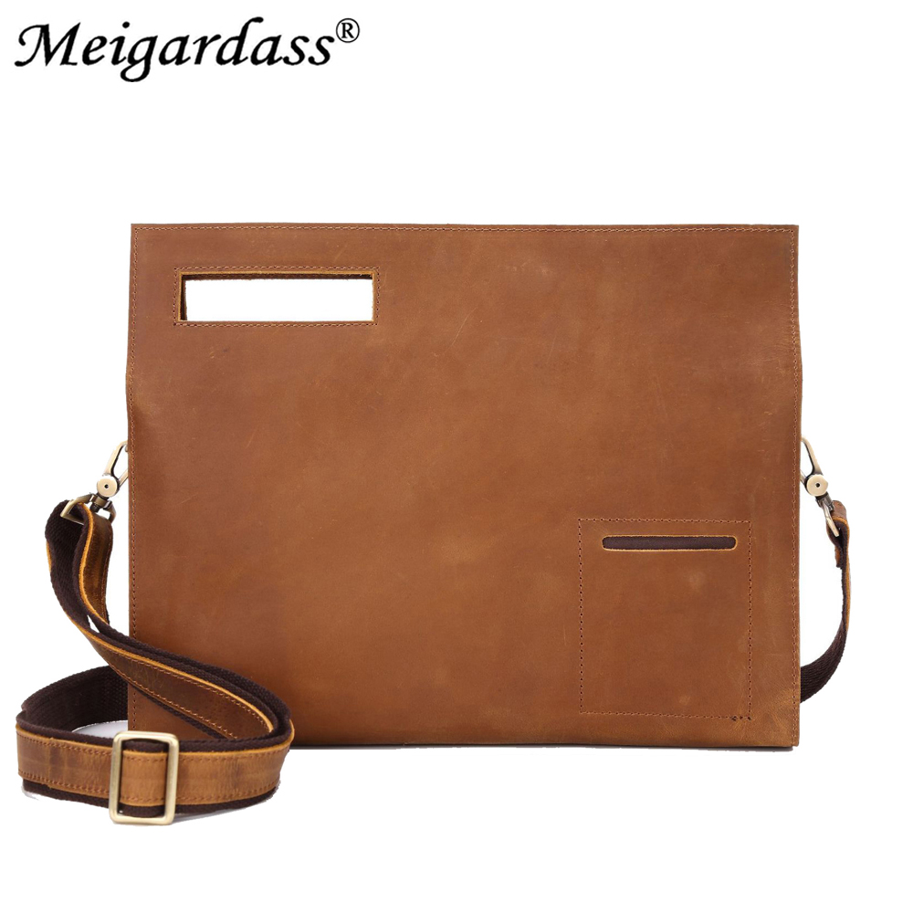 Vintage Crazy Horse Leather Men's Handbags Laptop Bag Genuine Leather Business Briefcase Male Shoulder Crossbody Messenger Bag