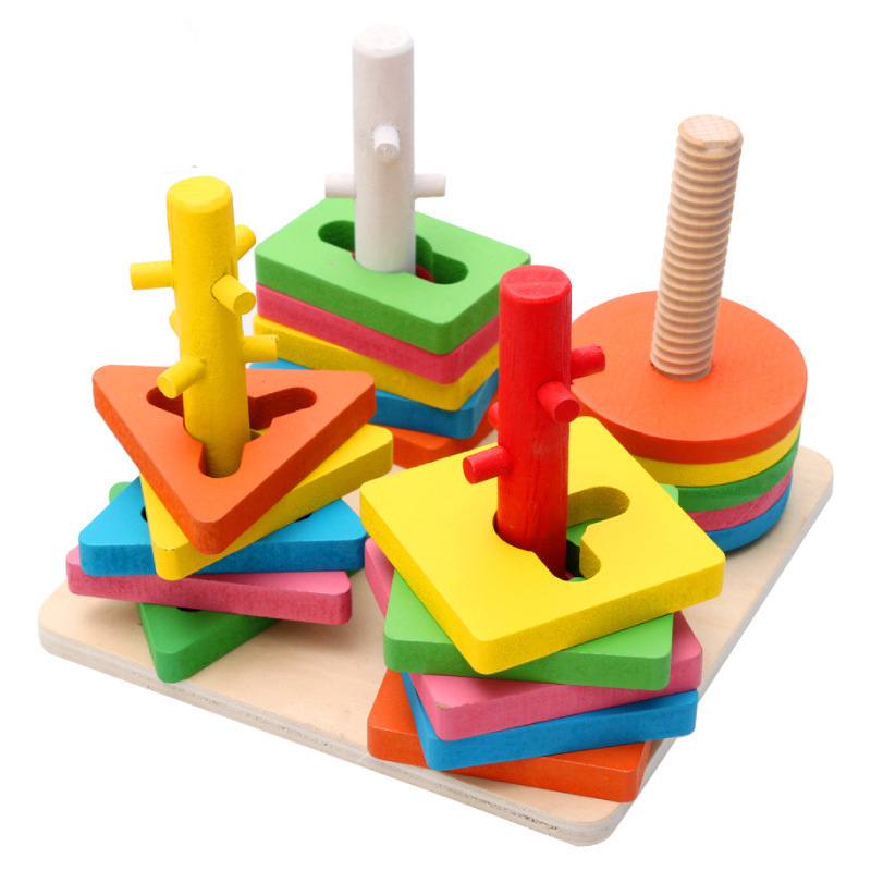 DIY Wooden Building Blocks Montessori Geometric Shape Pairing Board Model Set Early Educational Toys For Children Kids