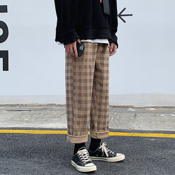 Autumn Corduroy Pants Men Fashion Retro Casual Plaid Pants Men Streetwear Hip Hop Loose Straight Trousers Male Large Size M-5XL