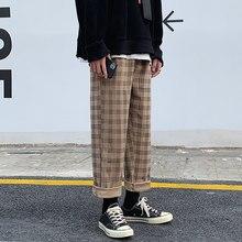 Sonbahar kadife pantolon erkekler moda Retro rahat ekose pantolon erkekler Streetwear Hip Hop gevşek düz pantolon erkek büyük boy M-5XL