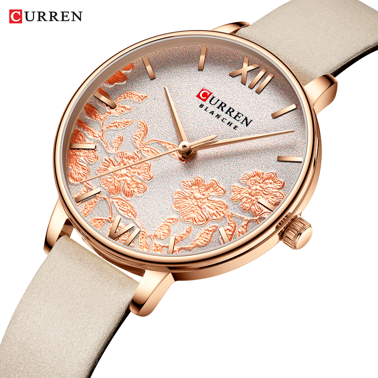 CURREN New Womens Watches Casual Leather Watch Strap Luxury Quartz Wristband Top Brand Gold Clock Women Elegant Ladies Watch