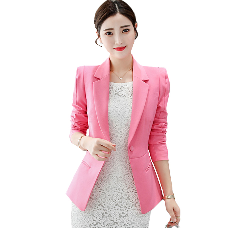 Spring Elegant Business Lady Jacket New  Women Full Sleeve Work Blazer Female Casual Coat