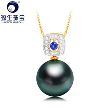 YS 18K Solid Gold Zircon Pendant 9-11mm Genuine Saltwater Cultured Tahitian Pearl Pendant Necklace цена и фото