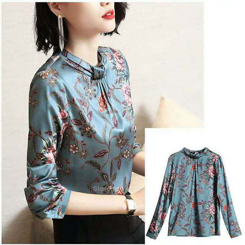 Women Casual Silk Blouse Traditional Chinese Costumes Floral Oriental Female Tops Female Vintage Slim Kimono Tang Suit Hanfu