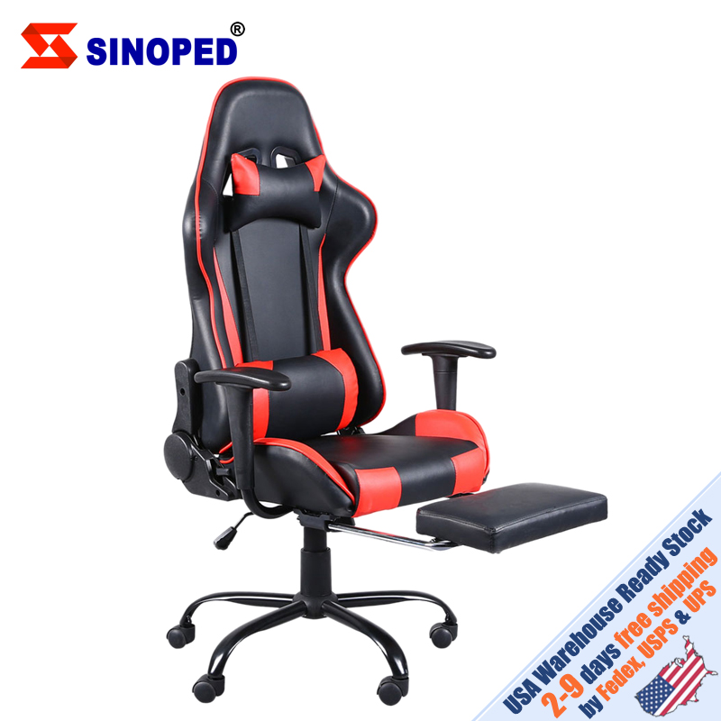 【US Warehouse】High Back Swivel Chair Racing Gaming Chair Office Chair With Footrest Tier Black & Red Free Shipping To USA