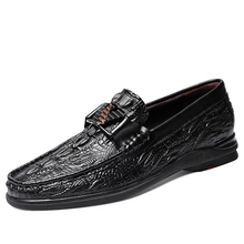 Crocodile Grain 2021 Fashion Men Slip-on Leather Shoes Comfortable Trendy Mens Loafers Driving Footwear High Quality Men's Shoes