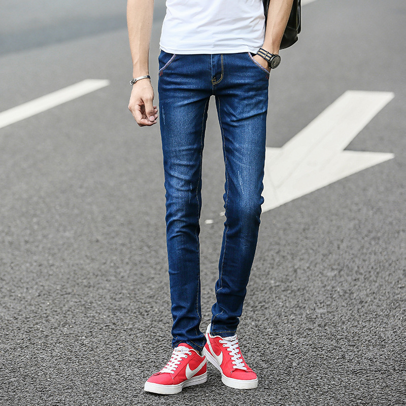 2019 Men's Teenager Jeans Male STUDENT'S Slim Fit Elasticity Skinny Pants Long Pants Hot Selling Men's Trousers-Style Fashion