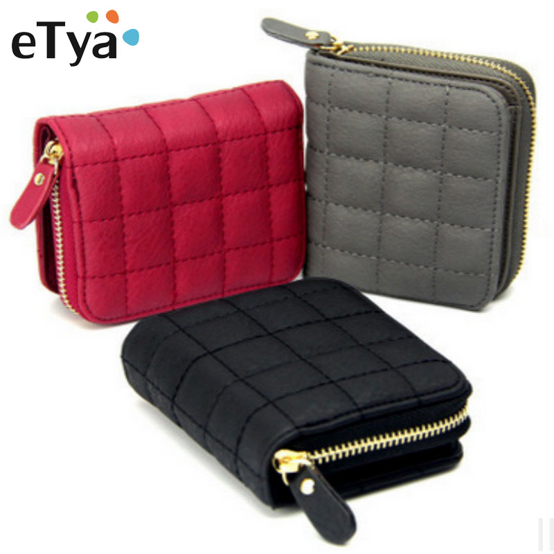 Women Short Wallets PU Leather Female Plaid Purses Ladies Card Holder Wallet Fashion Woman Small Zipper Wallet With Coin Purse