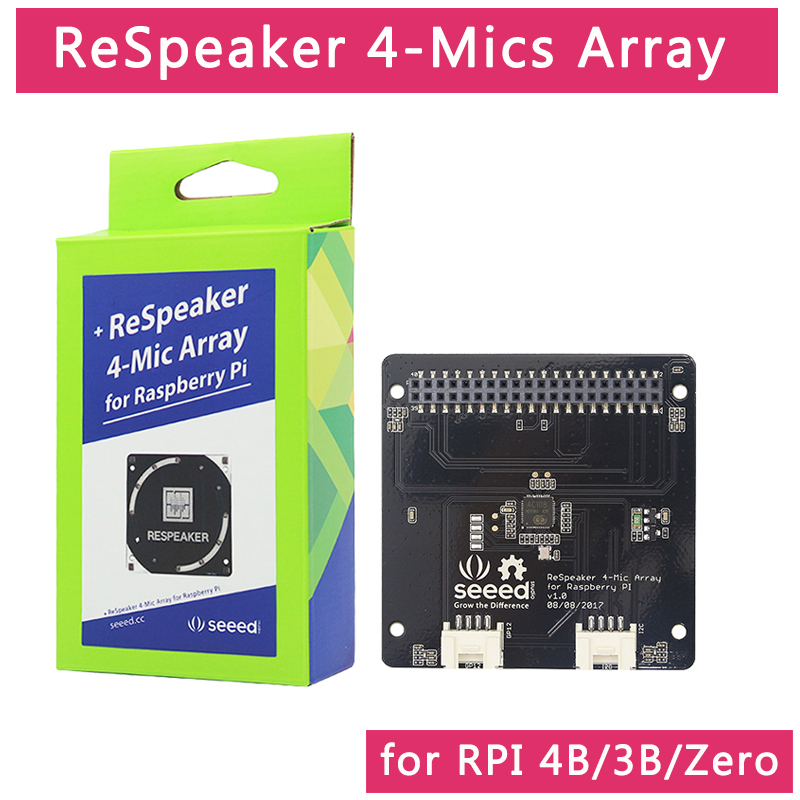 Raspberry Pi 4 Model B ReSpeaker 4-Mic Array For Raspberry Pi 4 Microphones Array  For AI Voice Quad-microphone Expansion Board