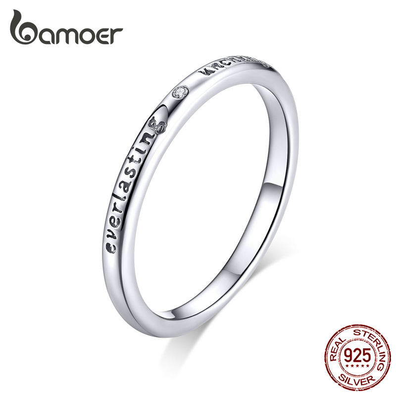 BAMOER Hot Sale 100% 925 Sterling Silver Never Give Up Letter Alphabet Ring Women Luxury Sterling Silver Jewelry S925 SCR204
