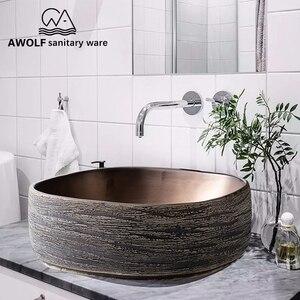 Image 5 - アート盆地シンク浴室洗浄槽ボウルセラミック容器アンティークスクエアストーン上カウンターバルコニー流域 AM920