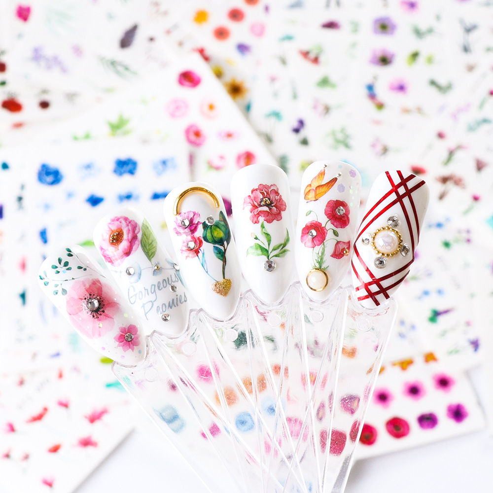 Cross Border Hot Selling Manicure Flower Adhesive Paper Watercolor Ink Floral Butterfly Nail Sticker 24-STZ707-730 Set