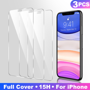 Image 1 - 3Pcs Full Cover Tempered glass on For iPhone 11 Pro Max Screen Protector iPhone X XR XS Max Protective Glass Film Curved edge