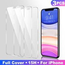 3Pcs Volledige Cover Gehard Glas Op Voor Iphone 11 Pro Max Screen Protector Iphone X Xr Xs Max Beschermende glas Film Gebogen Rand